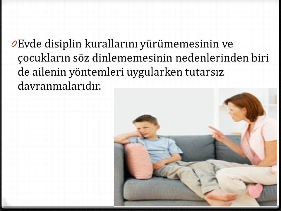 0 Evde disiplin kurallarını yürümemesinin ve çocukların söz dinlememesinin nedenlerinden biri de ailenin yöntemleri uygularken tutarsız davranmalarıdı