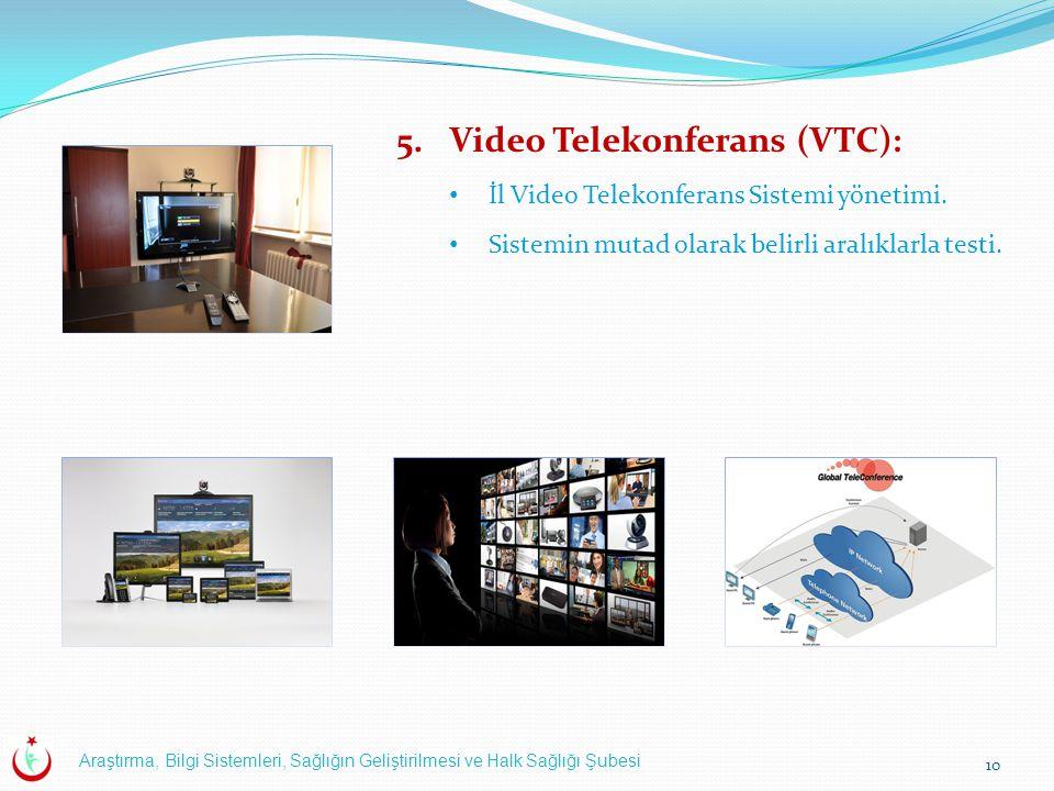 Araştırma, Bilgi Sistemleri, Sağlığın Geliştirilmesi ve Halk Sağlığı Şubesi 10 5.Video Telekonferans (VTC): İl Video Telekonferans Sistemi yönetimi. S