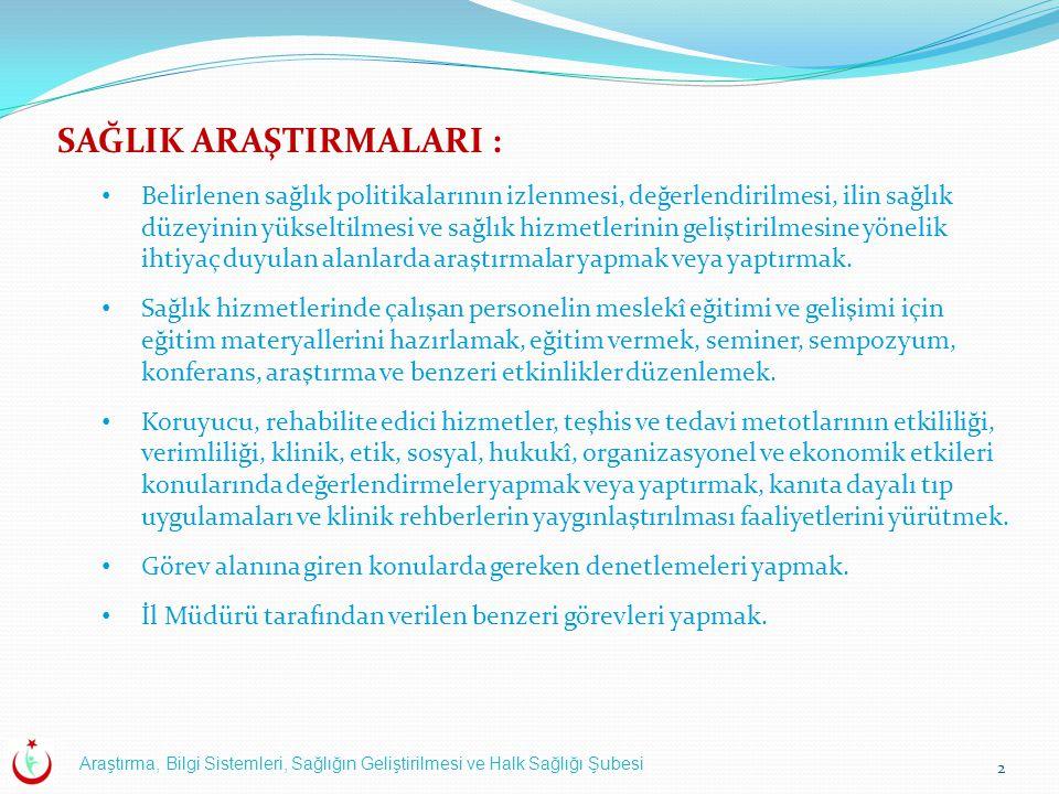 Araştırma, Bilgi Sistemleri, Sağlığın Geliştirilmesi ve Halk Sağlığı Şubesi 13 8.Sağlık Bakanlığı Uygulamaları: Çekirdek Kaynak Yönetim Sistemi (ÇKYS).