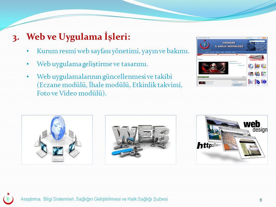 Araştırma, Bilgi Sistemleri, Sağlığın Geliştirilmesi ve Halk Sağlığı Şubesi 8 3.Web ve Uygulama İşleri: Kurum resmi web sayfası yönetimi, yayın ve bakımı.