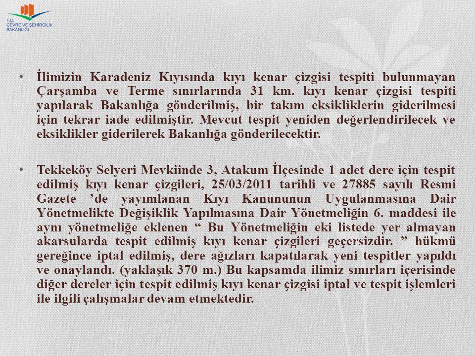 İlimizin Karadeniz Kıyısında kıyı kenar çizgisi tespiti bulunmayan Çarşamba ve Terme sınırlarında 31 km.