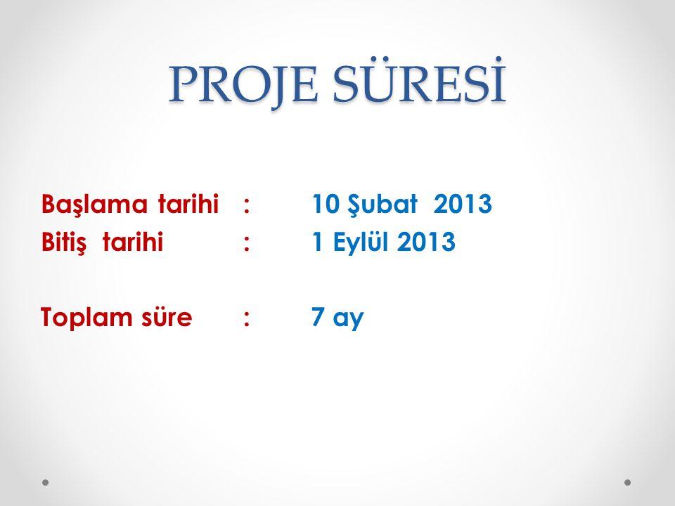 PROJE SÜRESİ Başlama tarihi: 10 Şubat 2013 Bitiş tarihi : 1 Eylül 2013 Toplam süre:7 ay