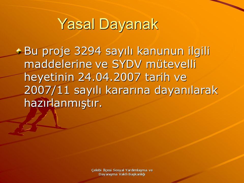 Çelebi İlçesi Sosyal Yardımlaşma ve Dayanışma Vakfı Başkanlığı Yasal Dayanak Bu proje 3294 sayılı kanunun ilgili maddelerine ve SYDV mütevelli heyetin