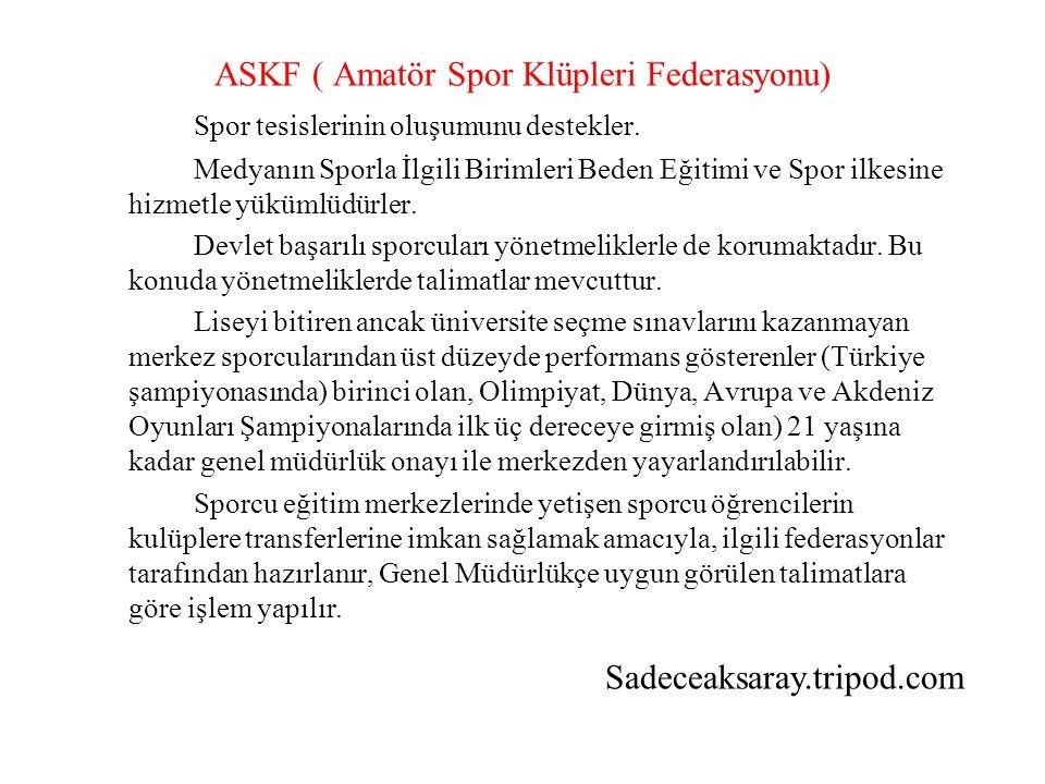 ASKF ( Amatör Spor Klüpleri Federasyonu) Spor tesislerinin oluşumunu destekler.