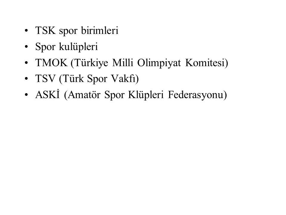 TSK spor birimleri Spor kulüpleri TMOK (Türkiye Milli Olimpiyat Komitesi) TSV (Türk Spor Vakfı) ASKİ (Amatör Spor Klüpleri Federasyonu)