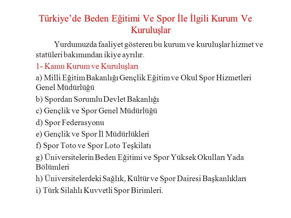 2- Özel Spor Kuruluşları a)Spor Kulüpleri b)Türkiye Milli Olimpiyat Komitesi (TMOK) c)Türk Spor Vakfı (TSV) d)Amatör Spor Kulüpleri Konfederasyonu (ASKF) e)Medyanın Sporla İlgili Birimleri f)Uluslararası Olimpiyat Komitesi (IOC) Söz konusu kamu ve özel kuruluşların beden eğitimi ve spor aktivitelerinin tüm yurt sathında yaygınlaştırılması ve geliştirilmesi için üzerlerine düşen görev ve sorumlulukların bilinciyle hareket etmeleri gerekmektedir.
