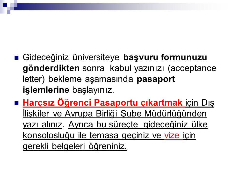 Gideceğiniz üniversiteye başvuru formunuzu gönderdikten sonra kabul yazınızı (acceptance letter) bekleme aşamasında pasaport işlemlerine başlayınız. H
