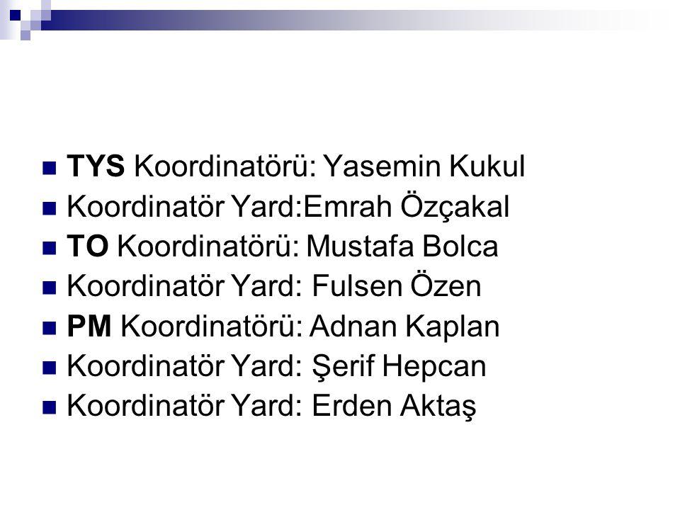 TYS Koordinatörü: Yasemin Kukul Koordinatör Yard:Emrah Özçakal TO Koordinatörü: Mustafa Bolca Koordinatör Yard: Fulsen Özen PM Koordinatörü: Adnan Kap