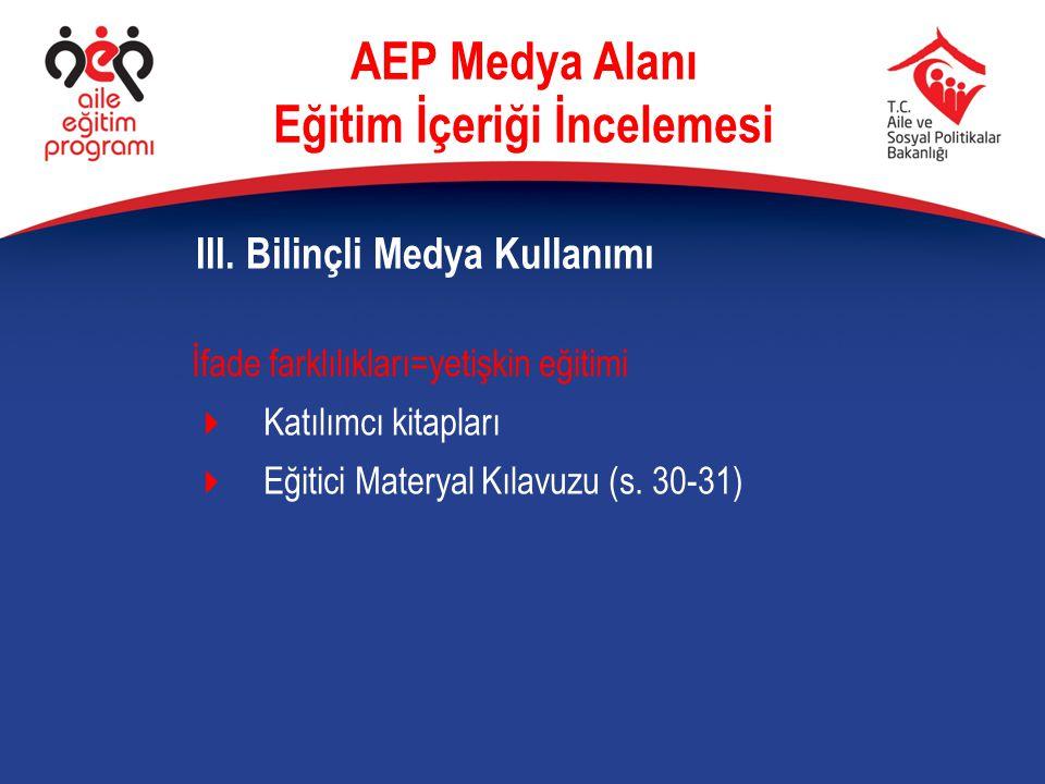 İfade farklılıkları=yetişkin eğitimi  Katılımcı kitapları  Eğitici Materyal Kılavuzu (s. 30-31) III. Bilinçli Medya Kullanımı AEP Medya Alanı Eğitim