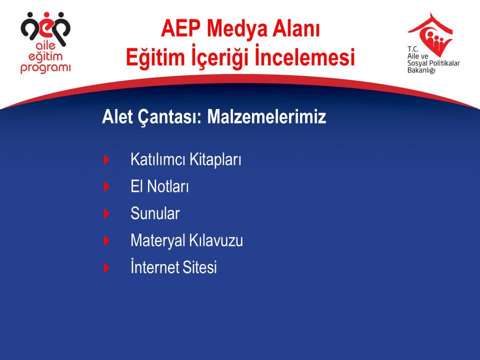  Katılımcı Kitapları  El Notları  Sunular  Materyal Kılavuzu  İnternet Sitesi Alet Çantası: Malzemelerimiz AEP Medya Alanı Eğitim İçeriği İncelem