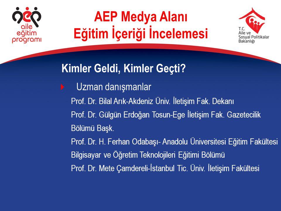  Uzman danışmanlar Prof. Dr. Bilal Arık-Akdeniz Üniv. İletişim Fak. Dekanı Prof. Dr. Gülgün Erdoğan Tosun-Ege İletişim Fak. Gazetecilik Bölümü Başk.