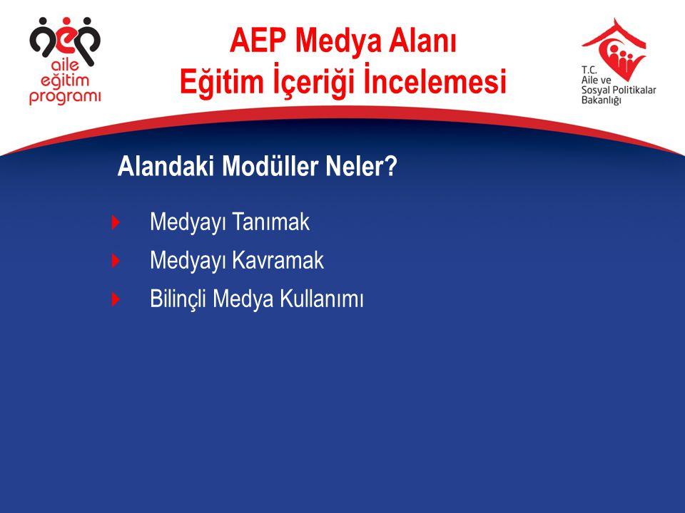  Medyanın hayattaki işlevselliğini önemseme  Uzmanlık bilgisinin gündelik hayatta karşılığını bulması  5 Yaşındaki bir facebook kullanıcısı: Niye, ben insan değil miyim?  Kulağı-gözü ve eli cep telefonuna ayarlı Şehirli : toplu ulaşım ve İstanbullular Benim İçin AEP Medya Alanı… AEP Medya Alanı Eğitim İçeriği İncelemesi