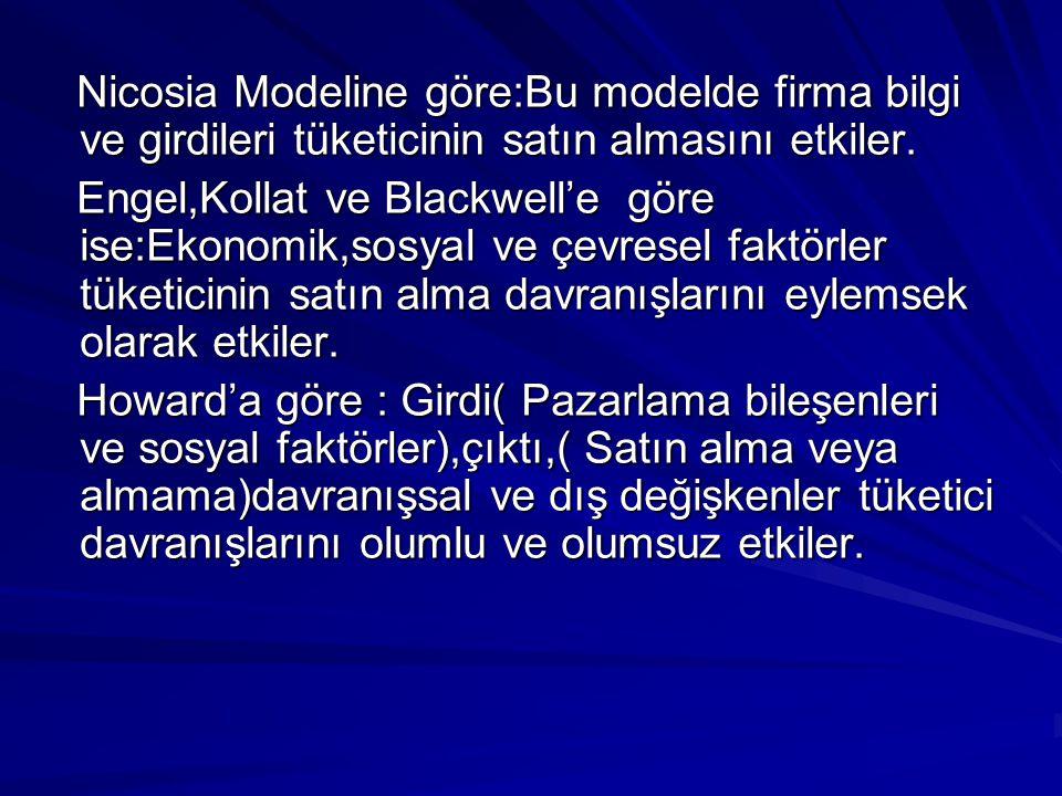 Nicosia Modeline göre:Bu modelde firma bilgi ve girdileri tüketicinin satın almasını etkiler. Nicosia Modeline göre:Bu modelde firma bilgi ve girdiler