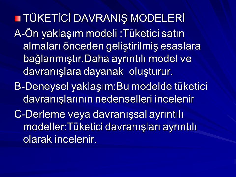 TÜKETİCİ DAVRANIŞ MODELERİ A-Ön yaklaşım modeli :Tüketici satın almaları önceden geliştirilmiş esaslara bağlanmıştır.Daha ayrıntılı model ve davranışl