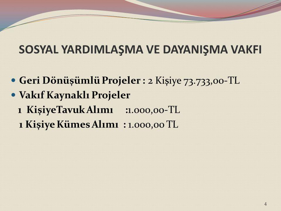SOSYAL YARDIMLAŞMA VE DAYANIŞMA VAKFI Geri Dönüşümlü Projeler : 2 Kişiye 73.733,00-TL Vakıf Kaynaklı Projeler 1 KişiyeTavuk Alımı :1.000,00-TL 1 Kişiye Kümes Alımı : 1.000,00 TL 4