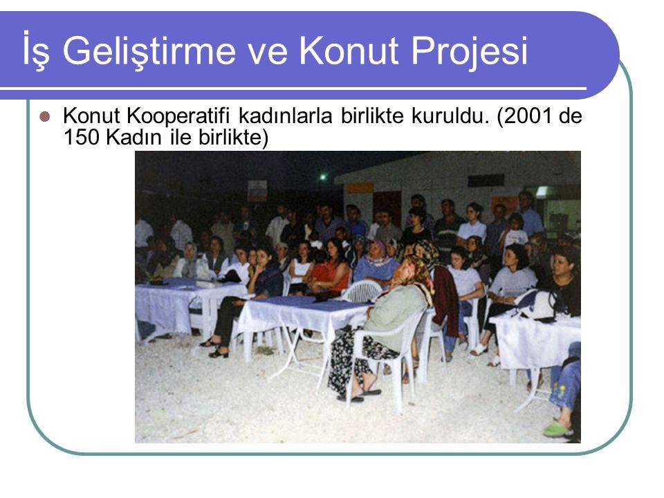 İş Geliştirme ve Konut Projesi Konut Kooperatifi kadınlarla birlikte kuruldu. (2001 de 150 Kadın ile birlikte)
