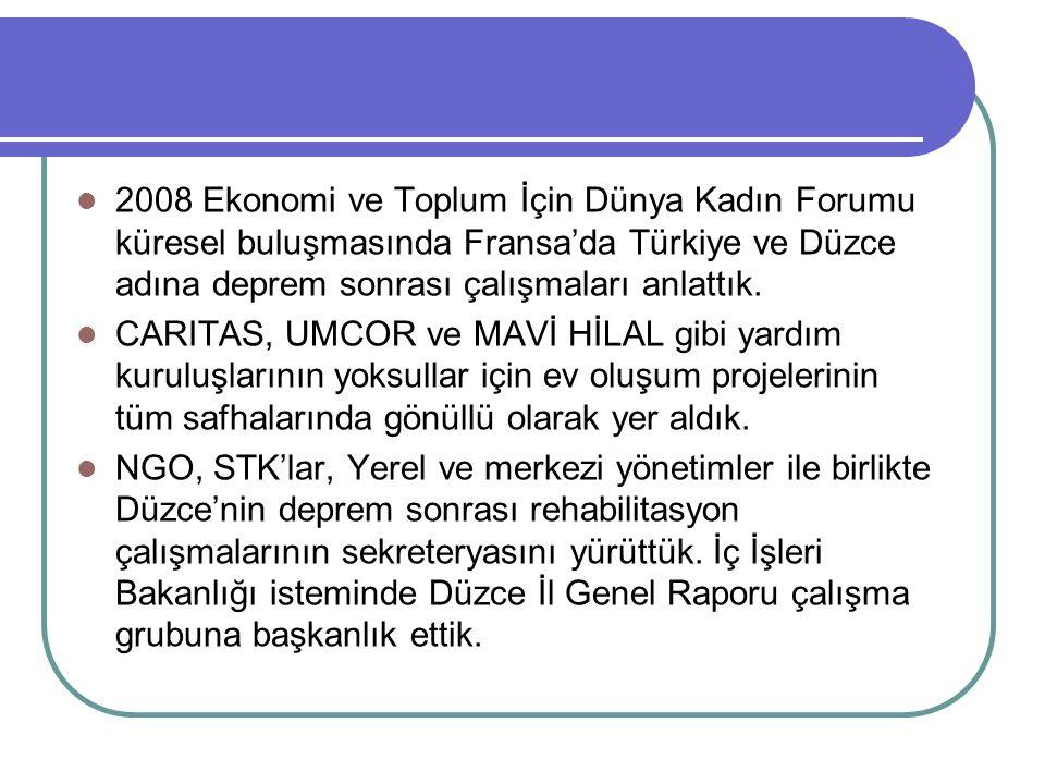 2008 Ekonomi ve Toplum İçin Dünya Kadın Forumu küresel buluşmasında Fransa'da Türkiye ve Düzce adına deprem sonrası çalışmaları anlattık. CARITAS, UMC