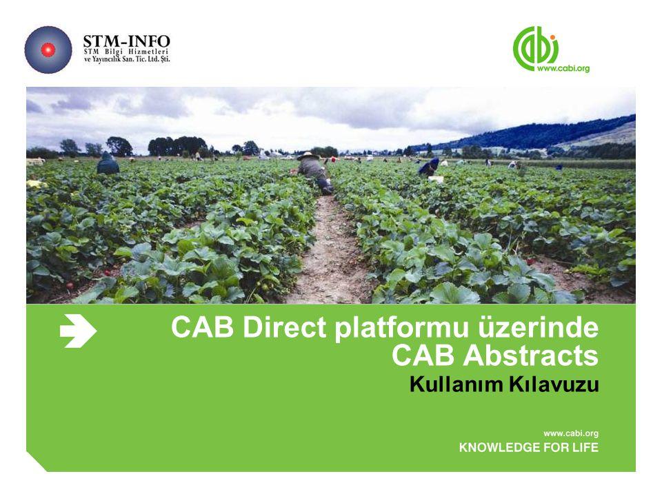 CAB Direct platformu üzerinde CAB Abstracts Kullanım Kılavuzu