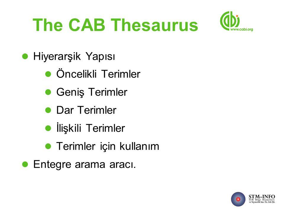 The CAB Thesaurus Hiyerarşik Yapısı Öncelikli Terimler Geniş Terimler Dar Terimler İlişkili Terimler Terimler için kullanım Entegre arama aracı.