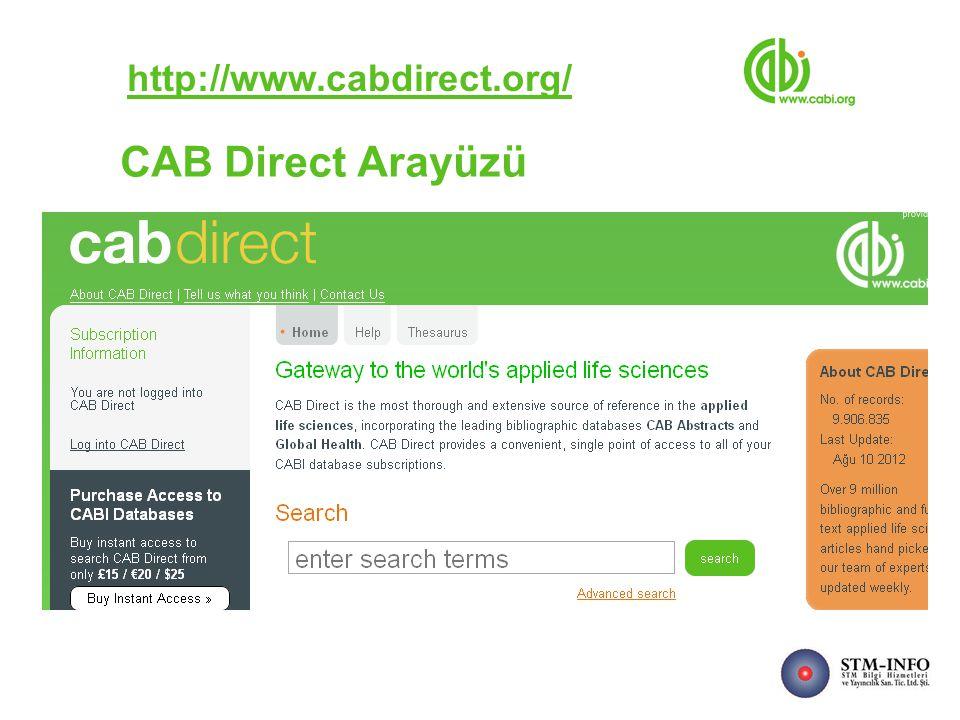 CAB Direct Arayüzü http://www.cabdirect.org/