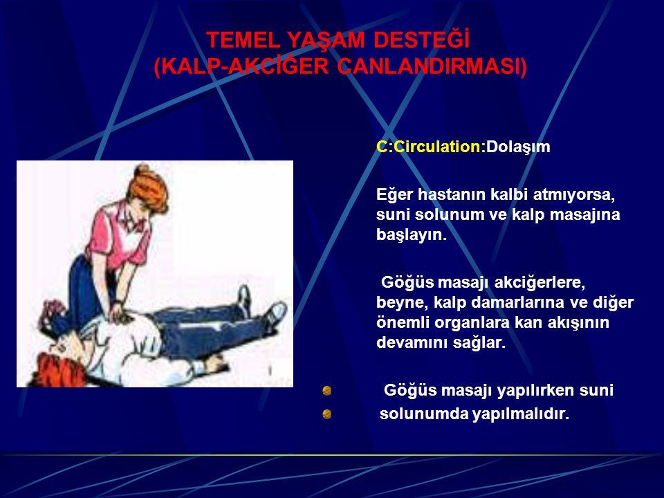 TEMEL YAŞAM DESTEĞİ (KALP-AKCİĞER CANLANDIRMASI) C:Circulation:Dolaşım Eğer hastanın kalbi atmıyorsa, suni solunum ve kalp masajına başlayın.