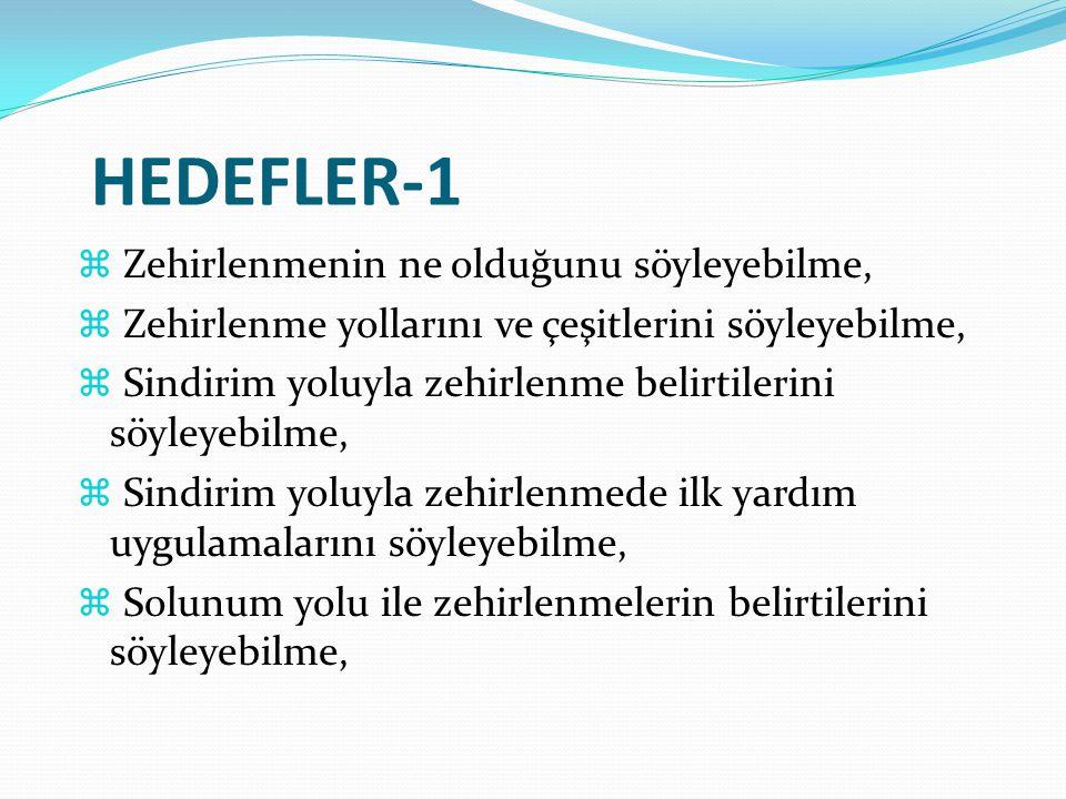 HEDEFLER-1  Zehirlenmenin ne olduğunu söyleyebilme,  Zehirlenme yollarını ve çeşitlerini söyleyebilme,  Sindirim yoluyla zehirlenme belirtilerini s