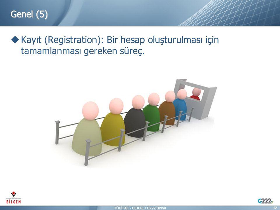 Genel (5)  Kayıt (Registration): Bir hesap oluşturulması için tamamlanması gereken süreç. 12 TÜBİTAK - UEKAE / G222 Birimi
