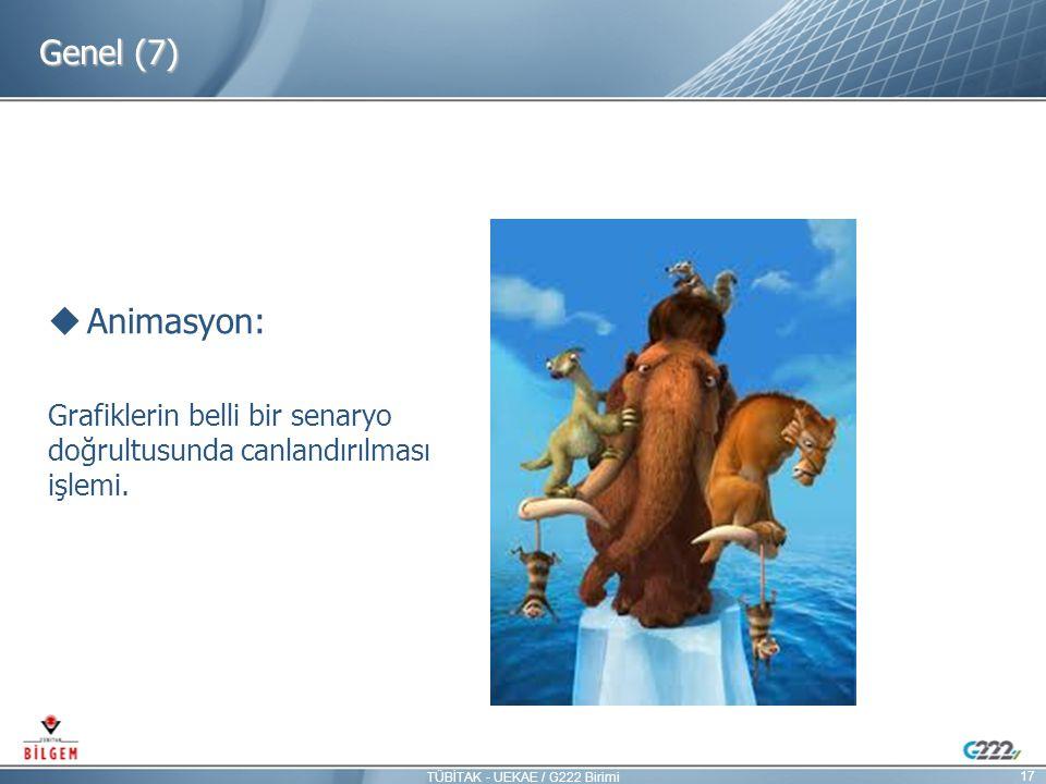 Genel (7)  Animasyon: Grafiklerin belli bir senaryo doğrultusunda canlandırılması işlemi. 17 TÜBİTAK - UEKAE / G222 Birimi