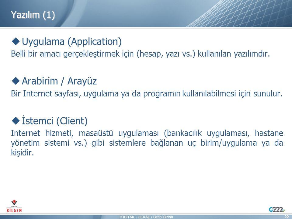 Yazılım (1)  Uygulama (Application) Belli bir amacı gerçekleştirmek için (hesap, yazı vs.) kullanılan yazılımdır.  Arabirim / Arayüz Bir Internet sa