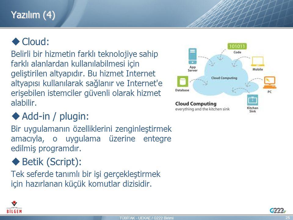 Yazılım (4)  Cloud: Belirli bir hizmetin farklı teknolojiye sahip farklı alanlardan kullanılabilmesi için geliştirilen altyapıdır. Bu hizmet Internet