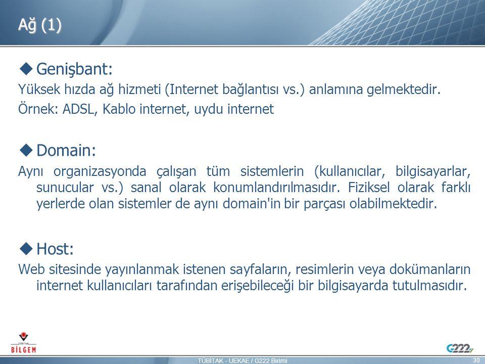 Ağ (1)  Genişbant: Yüksek hızda ağ hizmeti (Internet bağlantısı vs.) anlamına gelmektedir. Örnek: ADSL, Kablo internet, uydu internet  Domain: Aynı
