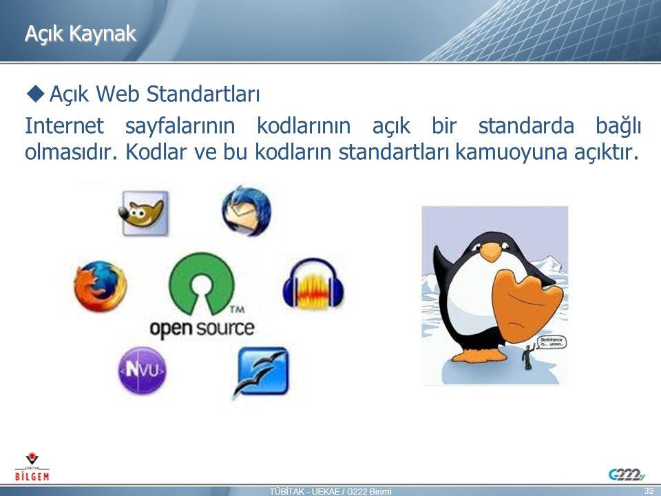 Açık Kaynak  Açık Web Standartları Internet sayfalarının kodlarının açık bir standarda bağlı olmasıdır. Kodlar ve bu kodların standartları kamuoyuna