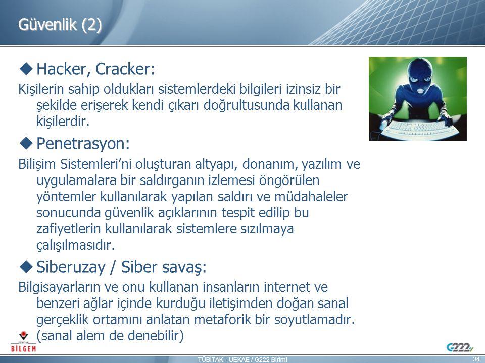 Güvenlik (2)  Hacker, Cracker: Kişilerin sahip oldukları sistemlerdeki bilgileri izinsiz bir şekilde erişerek kendi çıkarı doğrultusunda kullanan kiş