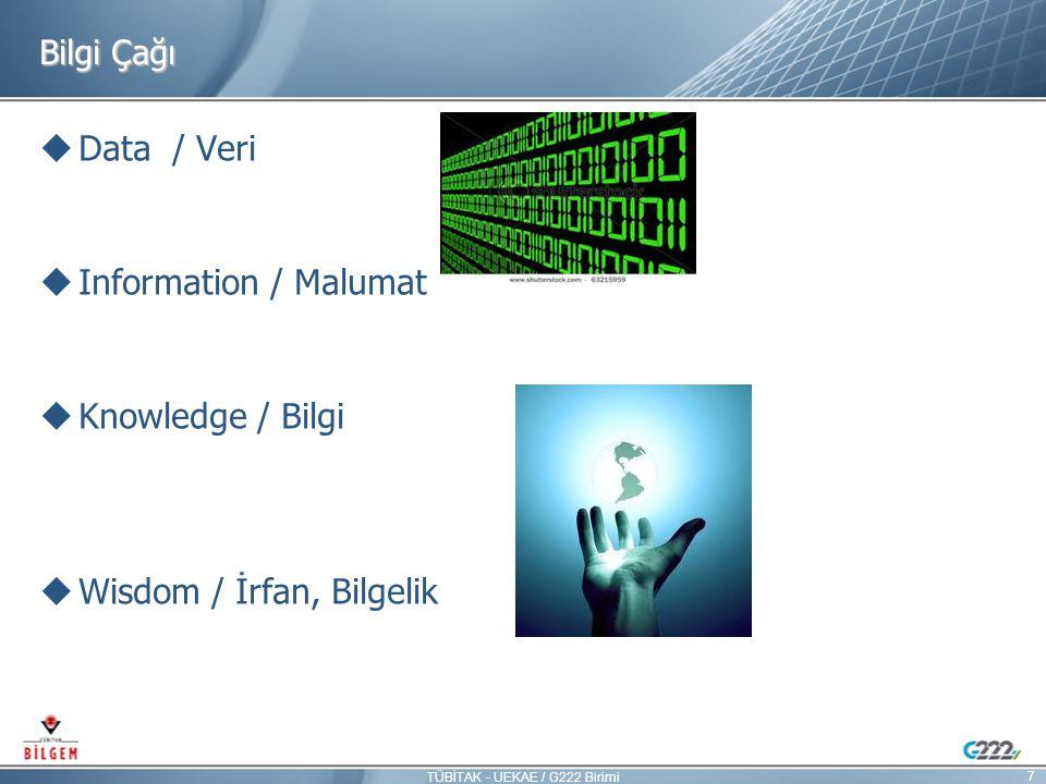 Bilgi Çağı  Data / Veri  Information / Malumat  Knowledge / Bilgi  Wisdom / İrfan, Bilgelik 7 TÜBİTAK - UEKAE / G222 Birimi