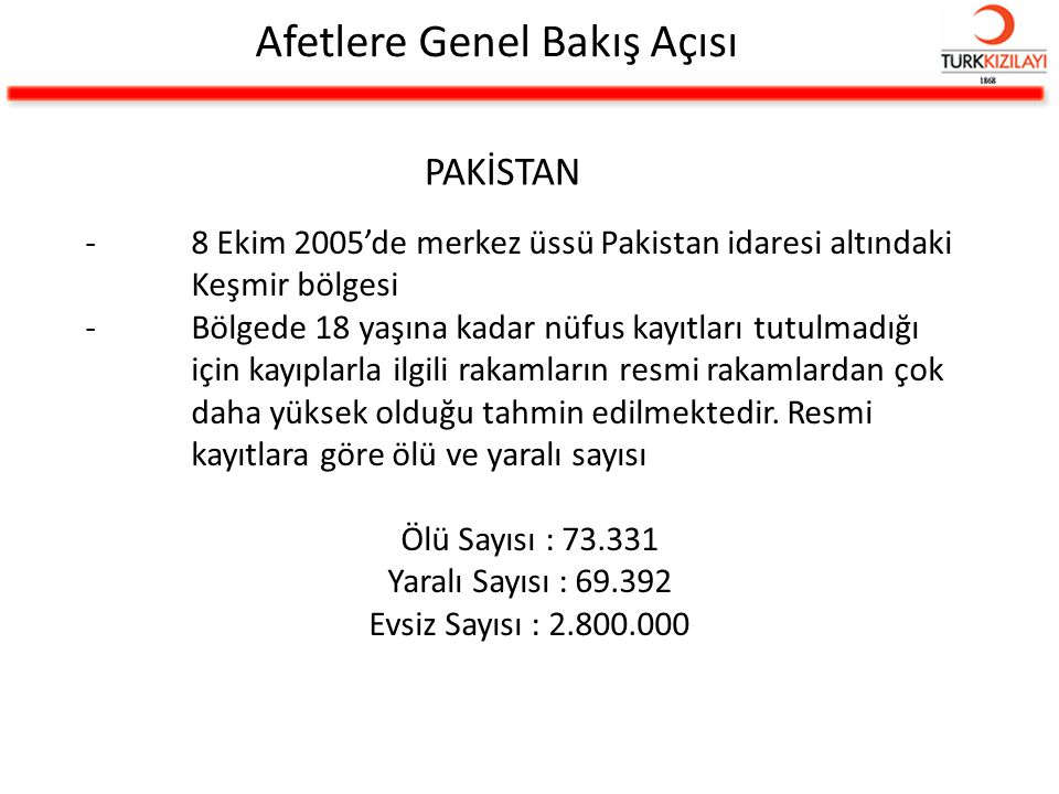 Afetlere Genel Bakış Açısı PAKİSTAN -8 Ekim 2005'de merkez üssü Pakistan idaresi altındaki Keşmir bölgesi -Bölgede 18 yaşına kadar nüfus kayıtları tut