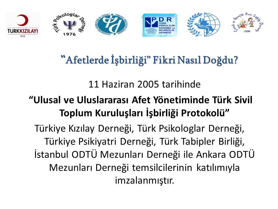 """11 Haziran 2005 tarihinde """"Ulusal ve Uluslararası Afet Yönetiminde Türk Sivil Toplum Kuruluşları İşbirliği Protokolü"""" Türkiye Kızılay Derneği, Türk Ps"""