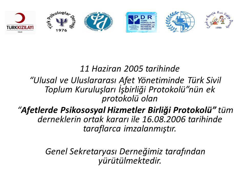 """11 Haziran 2005 tarihinde """"Ulusal ve Uluslararası Afet Yönetiminde Türk Sivil Toplum Kuruluşları İşbirliği Protokolü""""nün ek protokolü olan """"Afetlerde"""