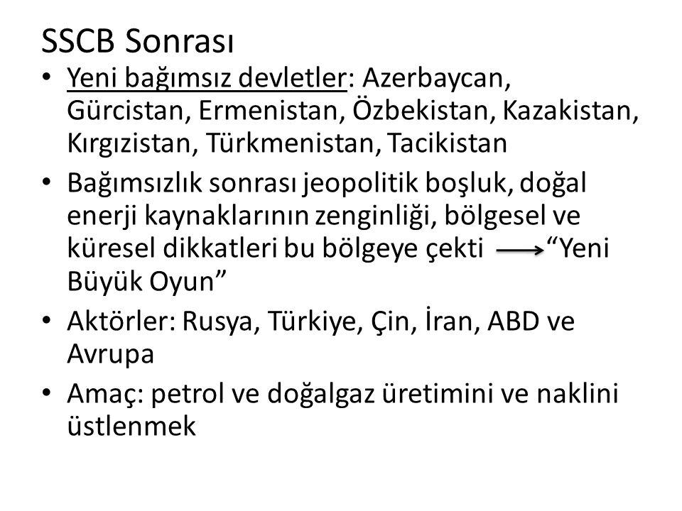 SSCB Sonrası Yeni bağımsız devletler: Azerbaycan, Gürcistan, Ermenistan, Özbekistan, Kazakistan, Kırgızistan, Türkmenistan, Tacikistan Bağımsızlık son