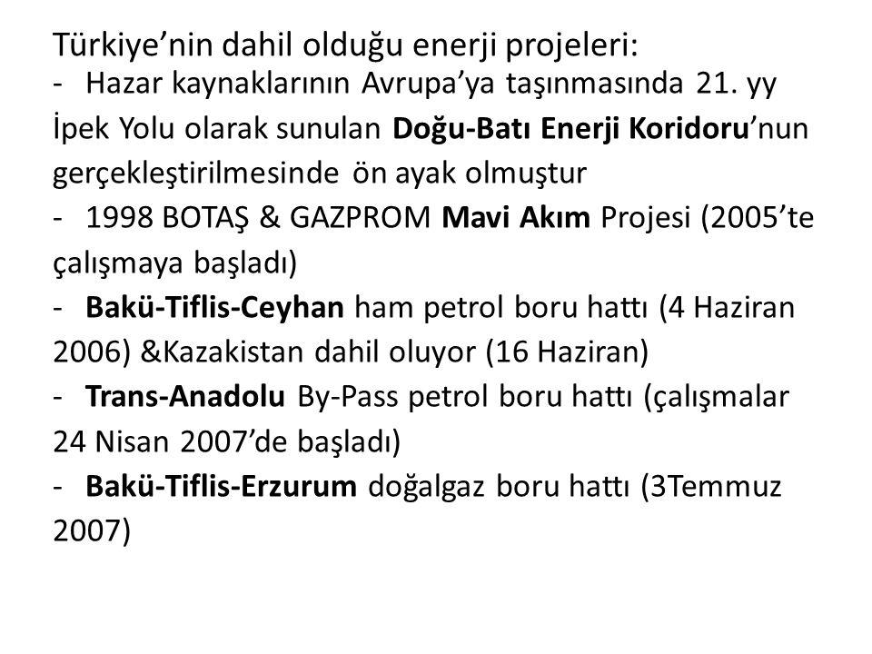 Türkiye'nin dahil olduğu enerji projeleri: -Hazar kaynaklarının Avrupa'ya taşınmasında 21. yy İpek Yolu olarak sunulan Doğu-Batı Enerji Koridoru'nun g