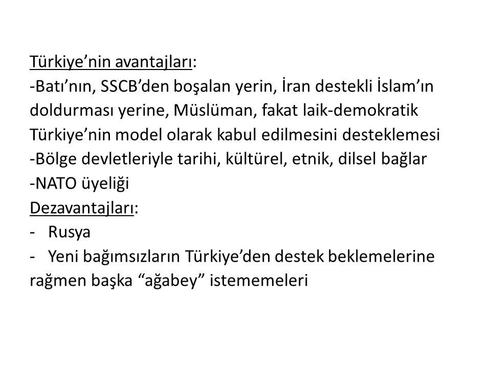 Türkiye'nin avantajları: -Batı'nın, SSCB'den boşalan yerin, İran destekli İslam'ın doldurması yerine, Müslüman, fakat laik-demokratik Türkiye'nin mode