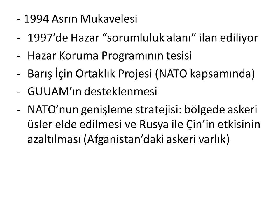 """- 1994 Asrın Mukavelesi -1997'de Hazar """"sorumluluk alanı"""" ilan ediliyor -Hazar Koruma Programının tesisi -Barış İçin Ortaklık Projesi (NATO kapsamında"""