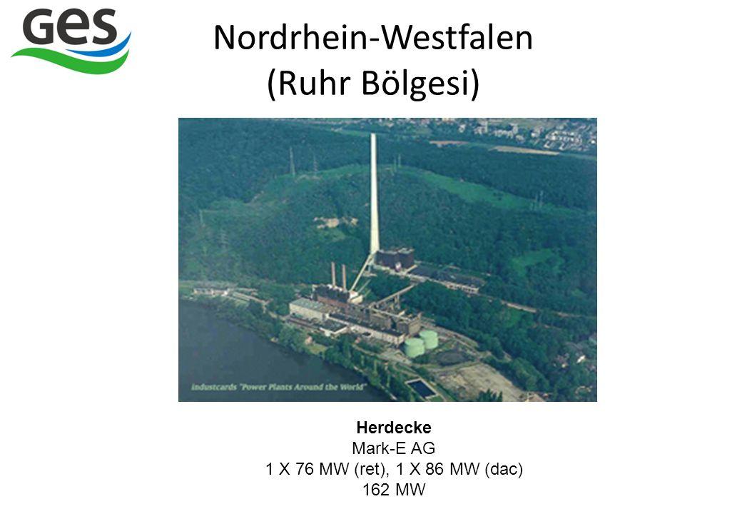Herdecke Mark-E AG 1 X 76 MW (ret), 1 X 86 MW (dac) 162 MW Nordrhein-Westfalen (Ruhr Bölgesi)