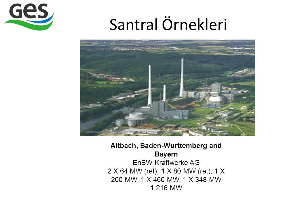 Santral Örnekleri Altbach, Baden-Wurttemberg and Bayern EnBW Kraftwerke AG 2 X 64 MW (ret), 1 X 80 MW (ret), 1 X 200 MW, 1 X 460 MW, 1 X 348 MW 1.216