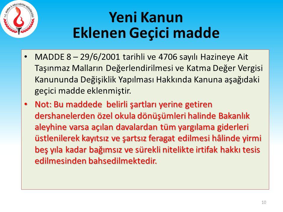 MADDE 8 – 29/6/2001 tarihli ve 4706 sayılı Hazineye Ait Taşınmaz Malların Değerlendirilmesi ve Katma Değer Vergisi Kanununda Değişiklik Yapılması Hakk