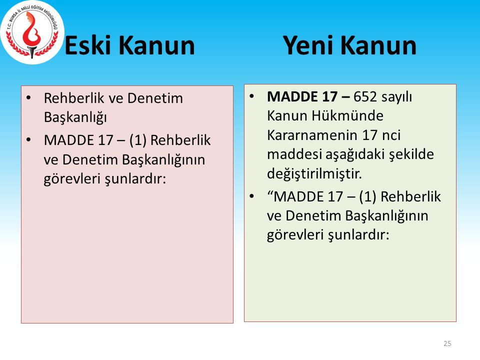 Eski Kanun Rehberlik ve Denetim Başkanlığı MADDE 17 – (1) Rehberlik ve Denetim Başkanlığının görevleri şunlardır: MADDE 17 – 652 sayılı Kanun Hükmünde