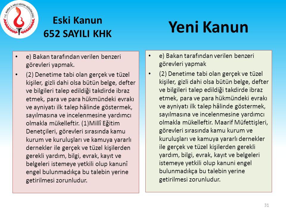 Eski Kanun 652 SAYILI KHK e) Bakan tarafından verilen benzeri görevleri yapmak. (2) Denetime tabi olan gerçek ve tüzel kişiler, gizli dahi olsa bütün