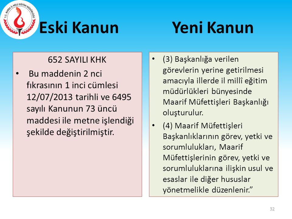 Eski Kanun 652 SAYILI KHK Bu maddenin 2 nci fıkrasının 1 inci cümlesi 12/07/2013 tarihli ve 6495 sayılı Kanunun 73 üncü maddesi ile metne işlendiği şe