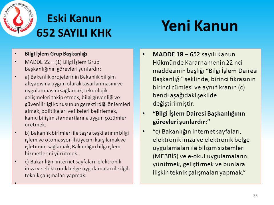 Eski Kanun 652 SAYILI KHK Bilgi İşlem Grup Başkanlığı MADDE 22 – (1) Bilgi İşlem Grup Başkanlığının görevleri şunlardır: a) Bakanlık projelerinin Baka