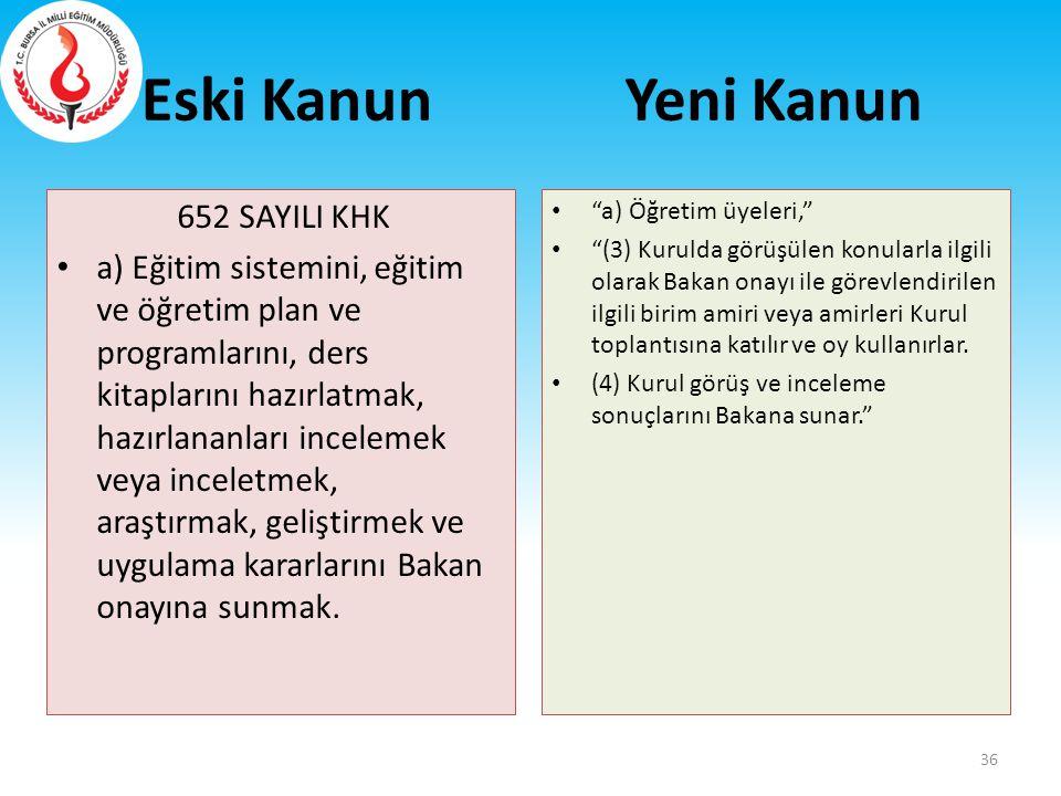 Eski Kanun 652 SAYILI KHK a) Eğitim sistemini, eğitim ve öğretim plan ve programlarını, ders kitaplarını hazırlatmak, hazırlananları incelemek veya in