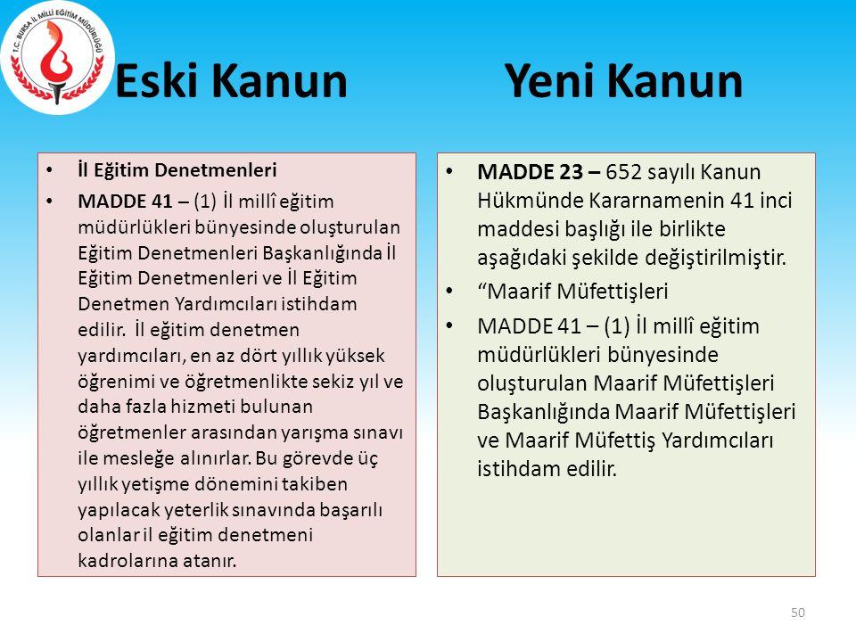 Eski Kanun İl Eğitim Denetmenleri MADDE 41 – (1) İl millî eğitim müdürlükleri bünyesinde oluşturulan Eğitim Denetmenleri Başkanlığında İl Eğitim Denet